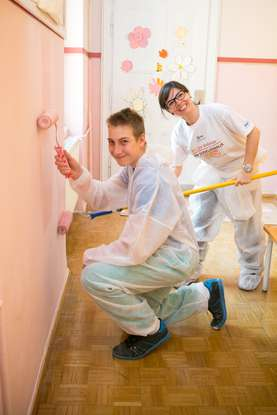 We were painting at the Special Education Center Janez Levec