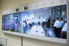Novartis CEO Vas Narasimhan connected live via video link with the employees in Lendava and Prevalje.